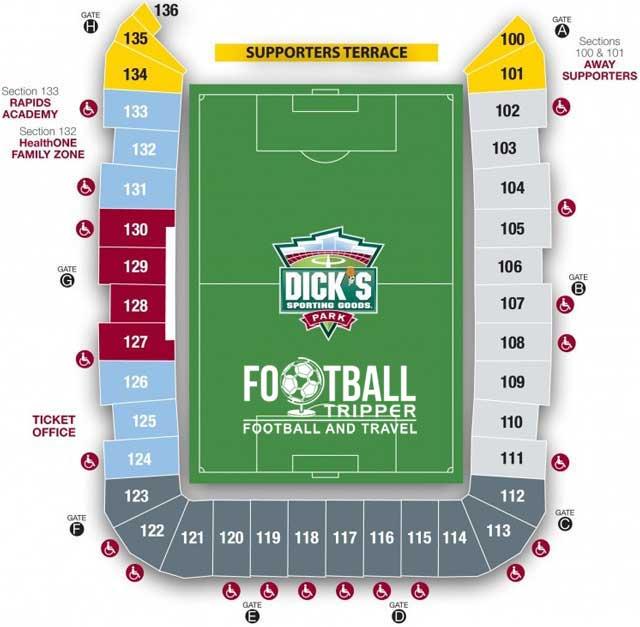 Dicks Sporting Goods Park Seating Plan