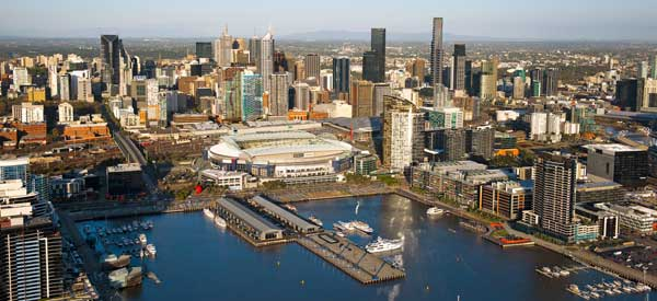 A look at Melbourne's Dockland's Area from the harbour.