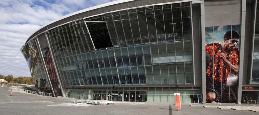Blast damage on Donbass Arena