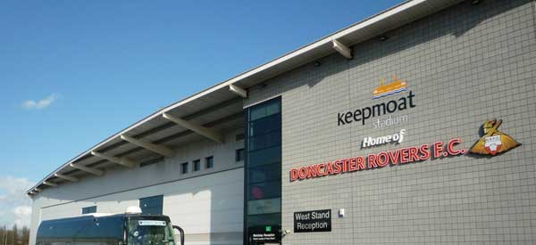 The exterior of Doncaster Rover's Keepmoat stadium.