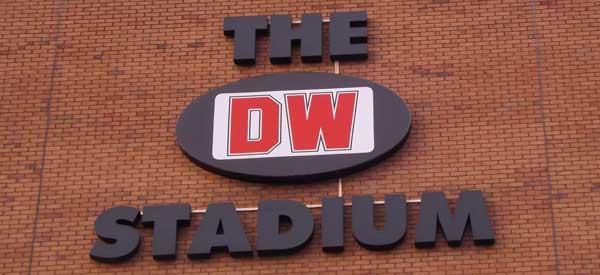 The DW Stadium sign