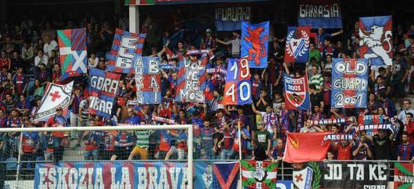 Eibar supporters inside the stadium