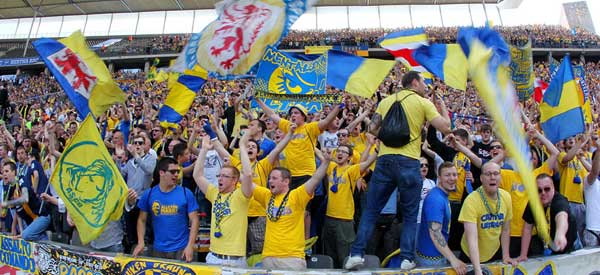 Eintracht Braunschweig supporters inside the stadium