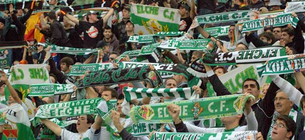 Elche supporters inside the stadium