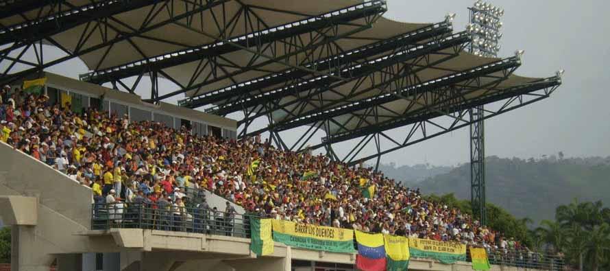 Fans inside Estadio 12 De Febrero
