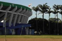 Exterior and palm trees of Estadio Ramón Tahuichi Aguilera