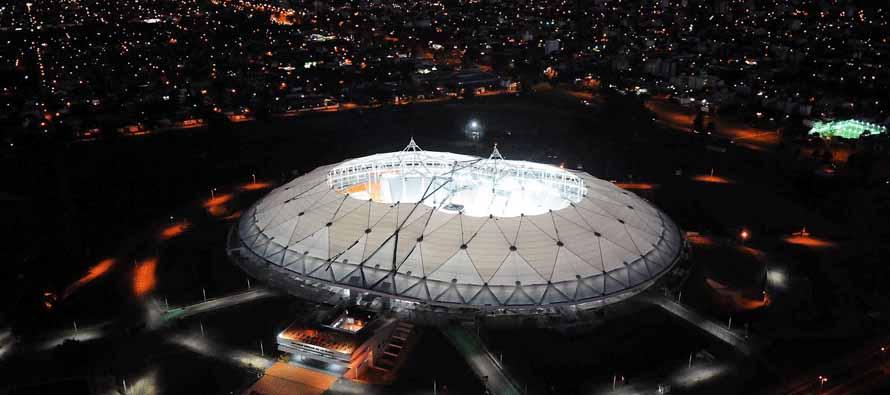 Aerial View of Estadio Ciudad De La Plata at night