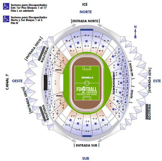 Seating chart for Estadio Costa Rica
