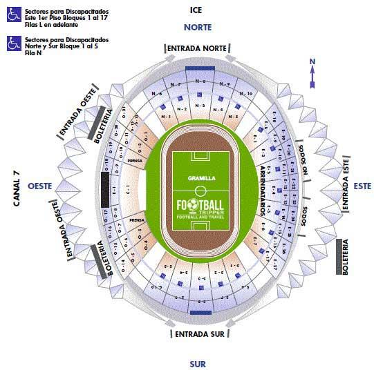 Seating chart for Estadio Costa Rica