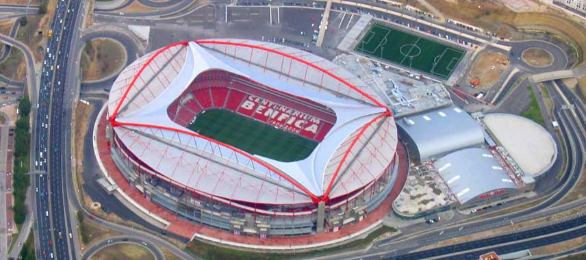 Aerial view of Estadio Da Luz in Lisbon
