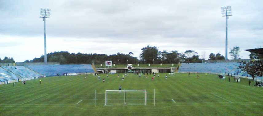 Behind the goal view of Estadio se Sao Miguel