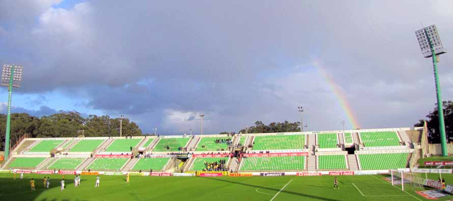 Rainbow on view inside Estadio do Rio Ave FC