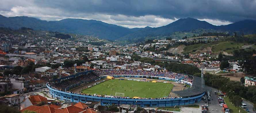 Aerial view of Estadio Federativo Reina Del Cisne