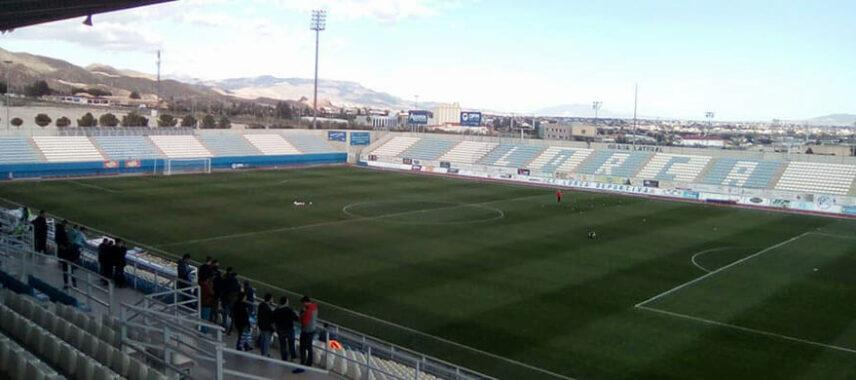 Inside view of Estadio Francisco Artés Carrasco pitch