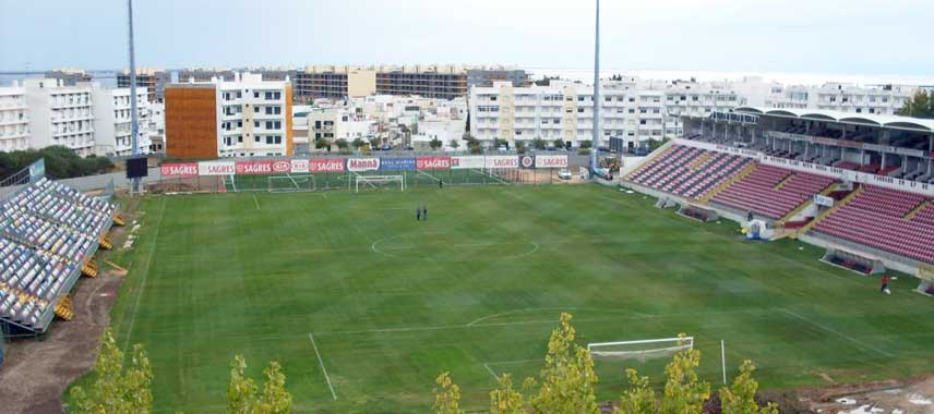 View of the pitch from behind the goal
