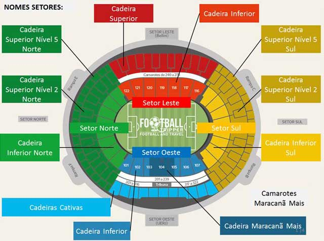 Seating chart for Estadio Maracanã