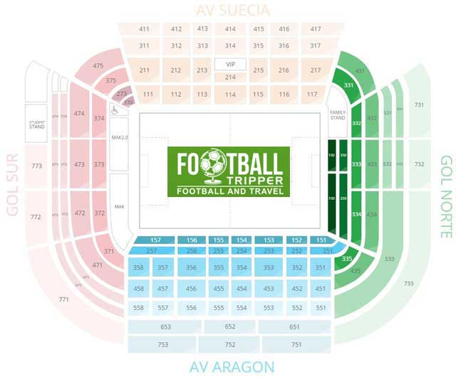 Estadio de Mestalla Seating Plan