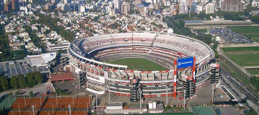 Aerial view of Estadio Monumental Antonio Vespucio Liberti