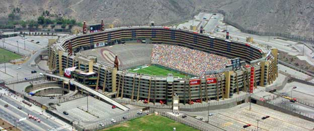 Aerial view of Estadio Monunmental Peru