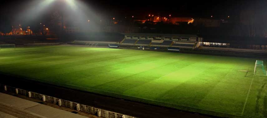 Nightime view of the pitch at 22nd June Stadium