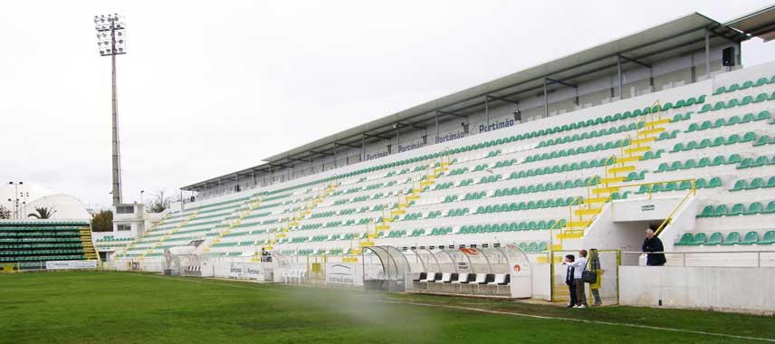 The main stand at Portimao municipal stadium