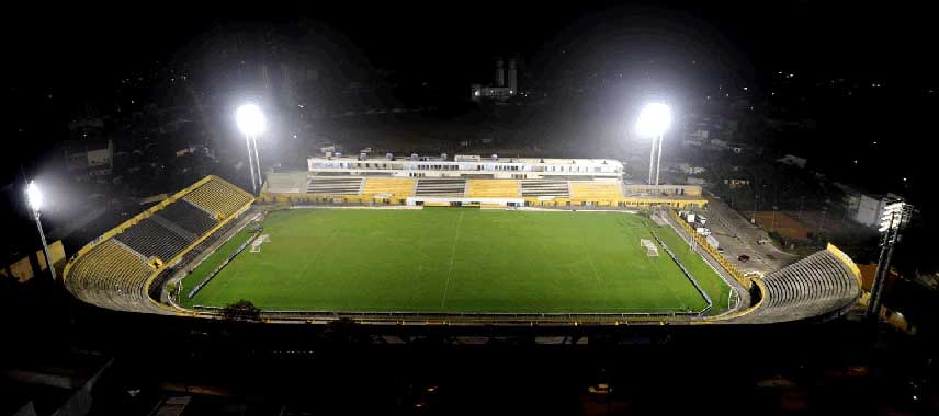 Aerial view of Estadio 1st May at night