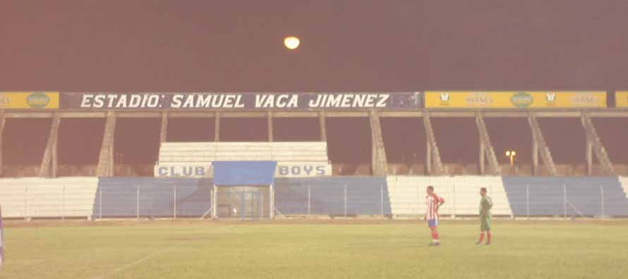 Inside Estadio Samue Vaca at night
