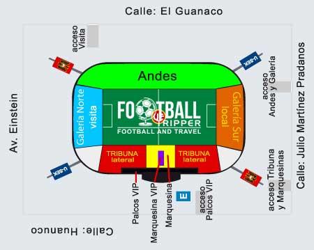 Seating chart for Estadio Santa Laura