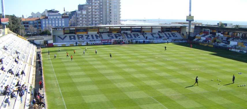Behind the goal view of Estadio do Varzim