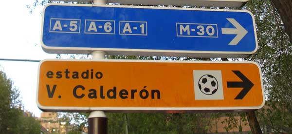 Road Sign for Vicente Calderon stadium