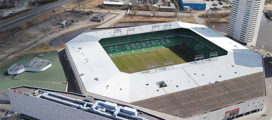 Aerial view of Euroborg stadium