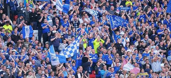 Everton supporters inside the stadium