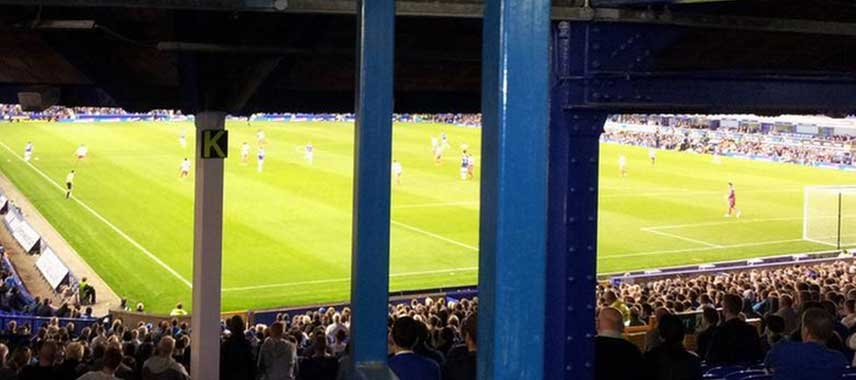Restricted view of pitch at Goodison Park