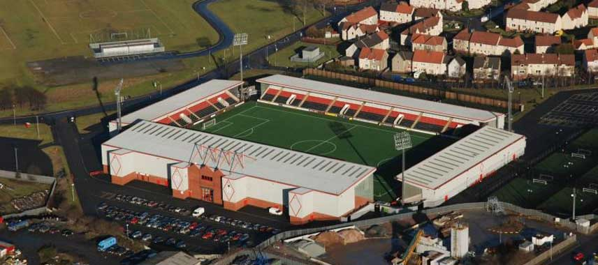 Aerial view of Excelsior Stadium in Airdrie