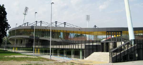 Exterior of east stand at Stadion Ljudski vrt