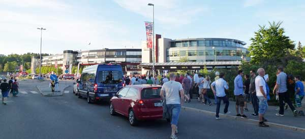Outside Ulleval Stadion matchday