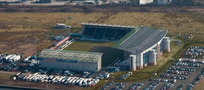 Great aerial view of Falkirk's stadium