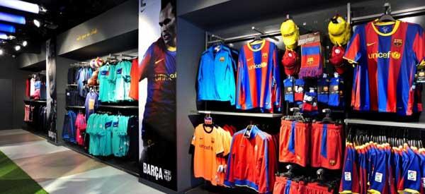 Interior of FC Barcelona club shop