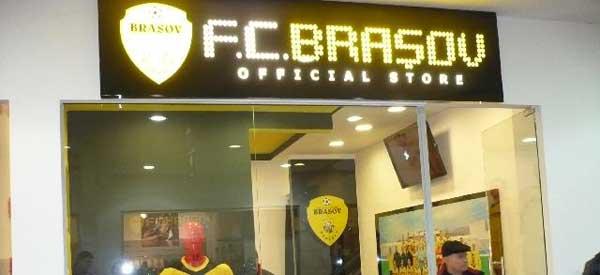 Shop window of FC Brasov club shop