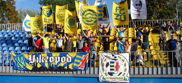 FC Hoverla Uzhhorod supporters inside the stadium