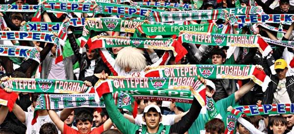 FC terek Grozny supporters inside the stadium