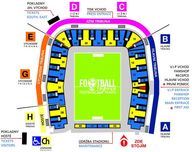 Stadion Na Stinadlech seating plan