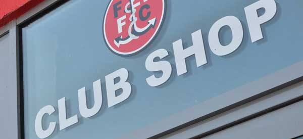 A picture showing the Fleetwood Town club shop.