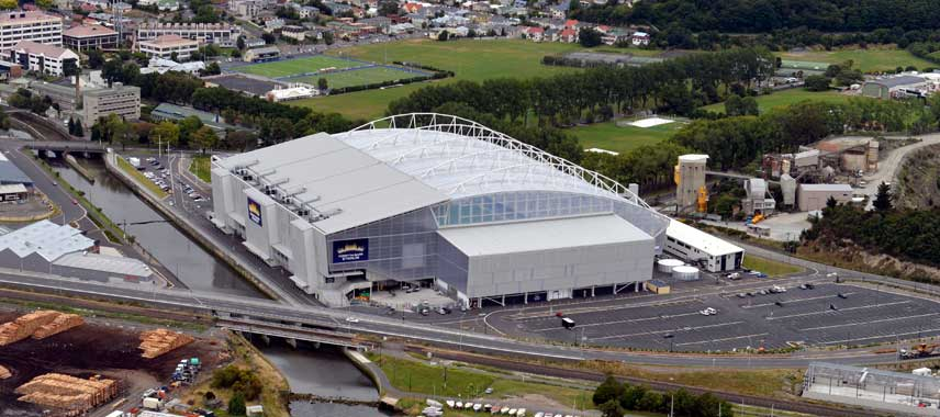 Aerial view of Forsyth Barr Stadium