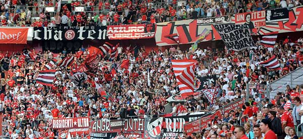 Fortuna Dusseldorf supporters inside the stadium