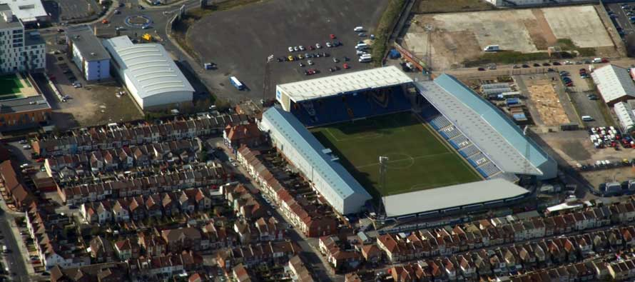 Fratton Park pitch view from corner flag