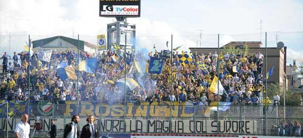 Frosinone supporters inside the stadium