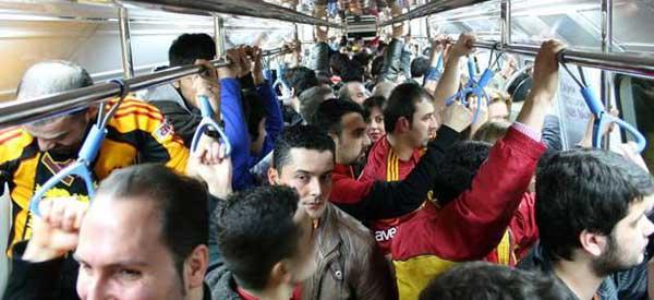 Galatasaray fans on metro