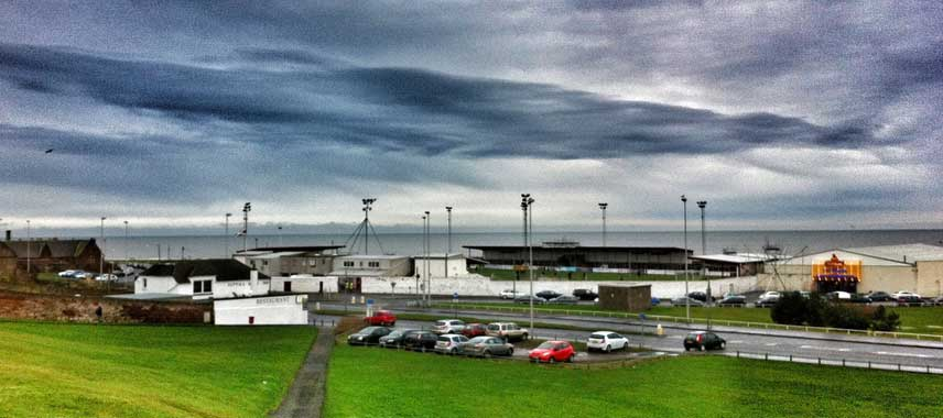 Dark and stormy view of Gayfield Park Stadium