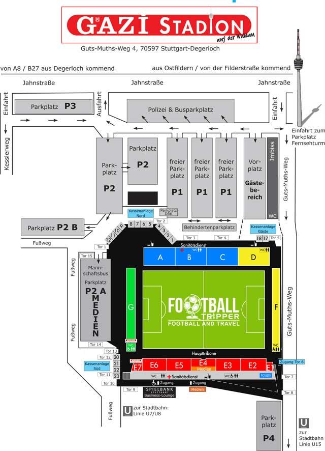 Gazi-Stadion auf der Waldau map